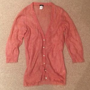J. Crew long V neck light pink/salmon cardigan